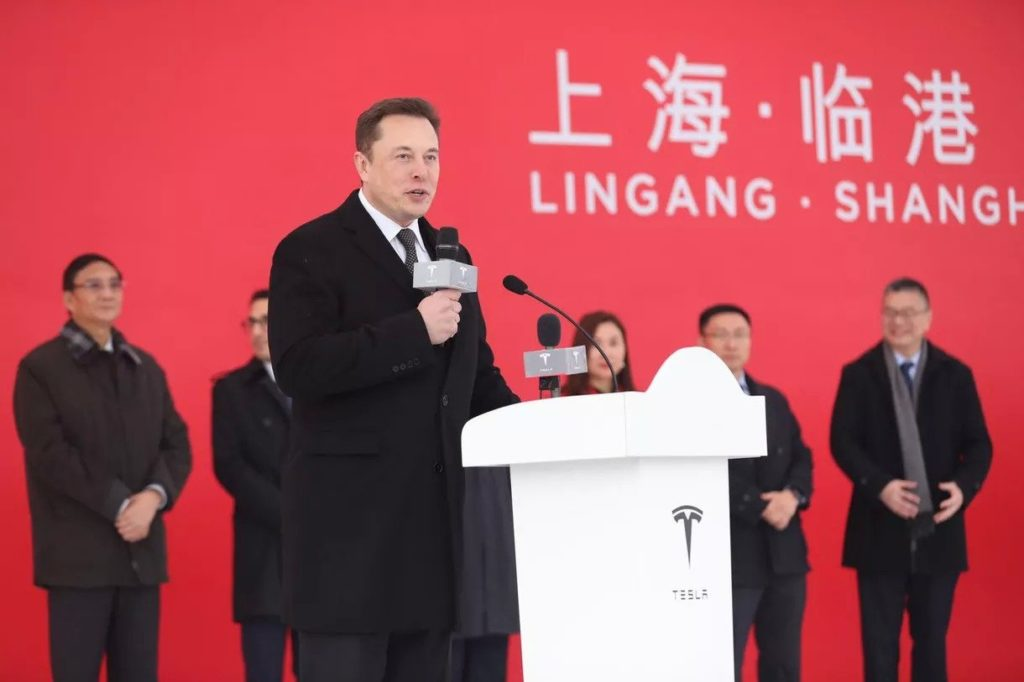 Elon Musk bei der Ground Breaking Zeremonie in Shanghai